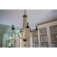 Maddox Brown Metal/Wood 5-light Transitional Candelabra Chandelier
