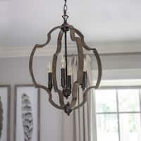 Walken Bronze Metal/Wood Orb 4-light Pendant