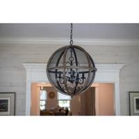 Declan Black/Bronze Steel Mesh/Wood 5-light Chandelier