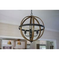 Mason Metal and Wood 4-Light Orb Pendant