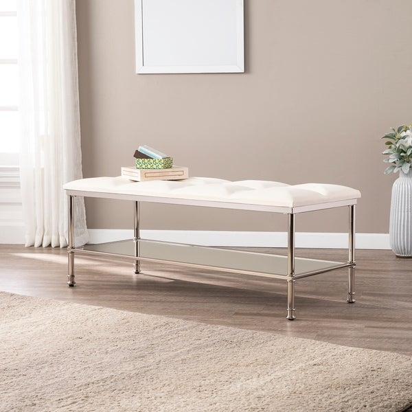 Harper Blvd Pascuale Off White Storage Bench With Mirrored Shelf