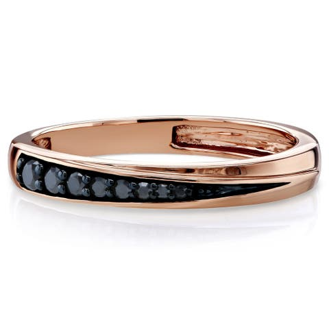 Annello by Kobelli 10k Rose and Black Gold 1/10ct TDW Black Diamond Accent Fashion Ring