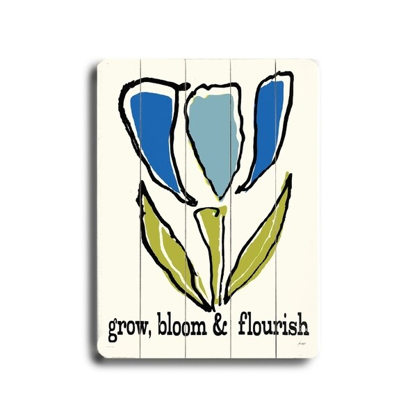 Grow, Bloom & Flourish - Planked Wood Wall Decor by Lisa Weedn
