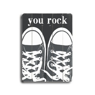 You Rock Sneakers -   Planked Wood Wall Decor by Lisa Weedn