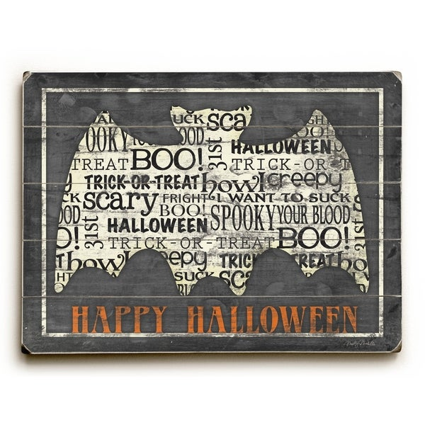 Happy Halloween - Bat - Planked Wood Wall Decor by Misty Diller