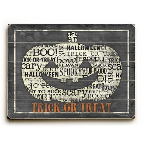 Happy Halloween - Pumpkin - Planked Wood Wall Decor by Misty Diller