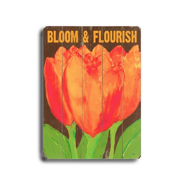 Bloom & flourish - Planked Wood Wall Decor by Lisa Weedn