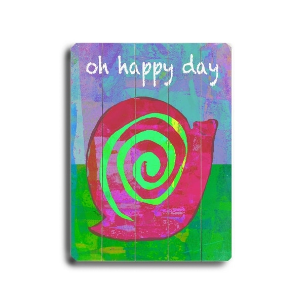 Oh Happy Day - Planked Wood Wall Decor by Lisa Weedn