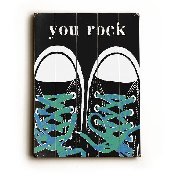 You Rock Blue - Planked Wood Wall Decor by Lisa Weedn