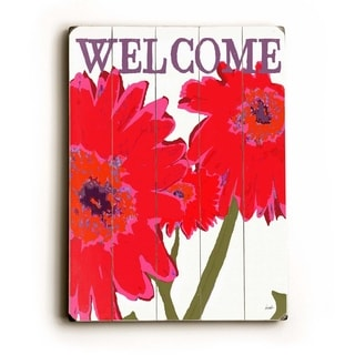 Welcome Light -   Planked Wood Wall Decor by Lisa Weedn