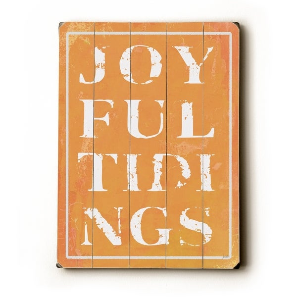 Joyful Tidings Orange - Planked Wood Wall Decor by Lisa Weedn