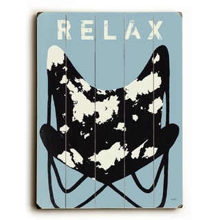 Relax - Blue -   Planked Wood Wall Decor by Lisa Weedn