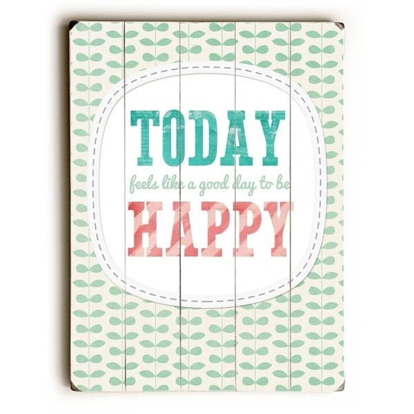 Today Happy - Planked Wood Wall Decor by Cheryl Overton