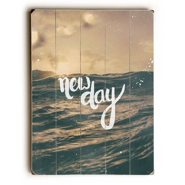 New Day - Planked Wood Wall Decor by Pocket Fuel