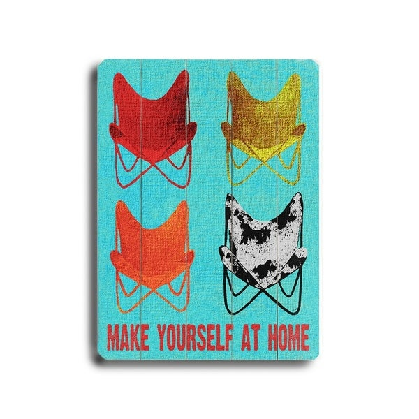 Make Yourself at Home - Planked Wood Wall Decor by Lisa Weedn