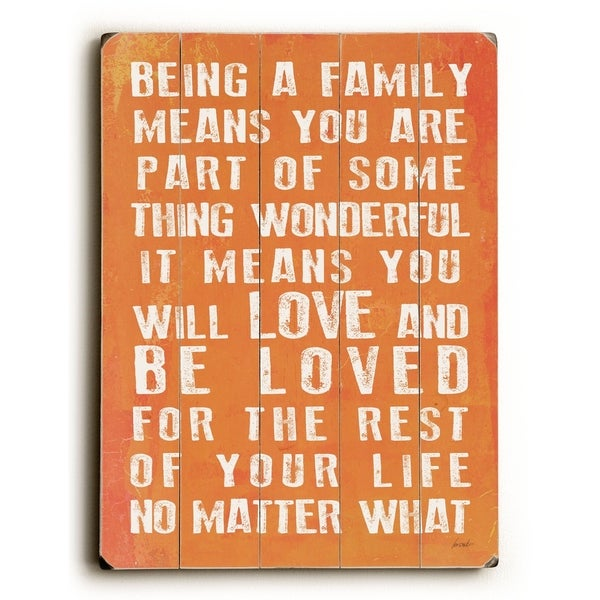 Being A Family - Coral - Planked Wood Wall Decor by Lisa Weedn