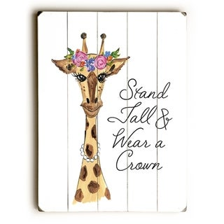 Stand Tall Giraffe - Multi  Planked Wood Wall Decor by Timree