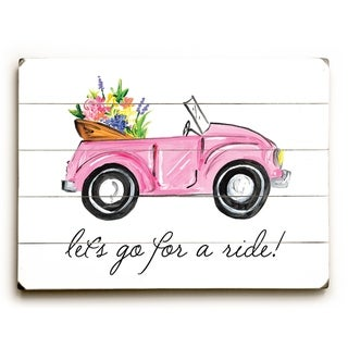 Lets Go For A Ride - Multi  Planked Wood Wall Decor by Timree