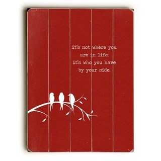 By your side red -   Planked Wood Wall Decor by Cheryl Overton