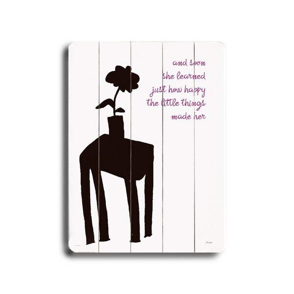 Happy Little Things - Planked Wood Wall Decor by Lisa Weedn