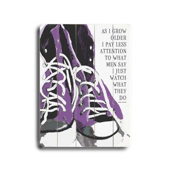 As I grow older (Purple) - Planked Wood Wall Decor by Lisa Weedn