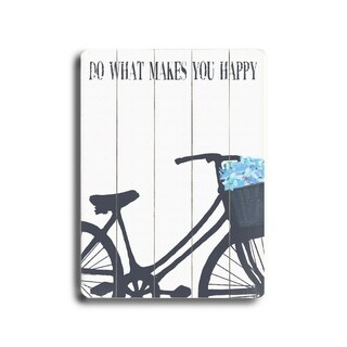 Do what makes you happy - Blue Flowers -   Planked Wood Wall Decor by Lisa Weedn
