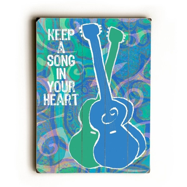 Keep a song in your heart large - Planked Wood Wall Decor by Lisa Weedn