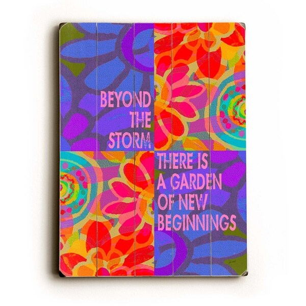 Beyond the storm 2 - Planked Wood Wall Decor by Lisa Weedn