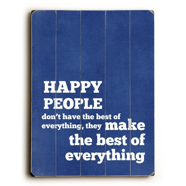 Happy People - Planked Wood Wall Decor by Cheryl Overton