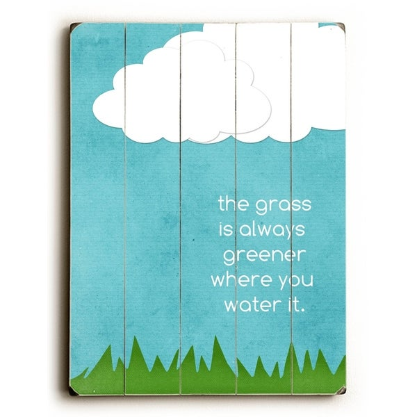 Grass is Always Greener - Planked Wood Wall Decor by Cheryl Overton