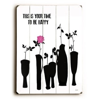 Time to be happy -   Planked Wood Wall Decor by Lisa Weedn