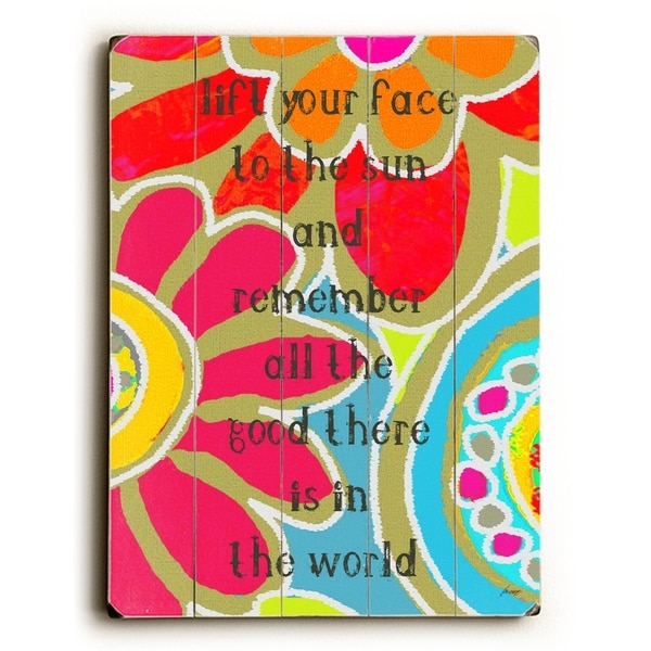 lift your face - Planked Wood Wall Decor by Lisa Weedn