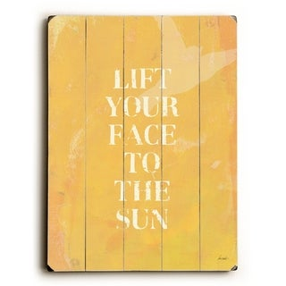 lift your face to the sun-yellow -   Planked Wood Wall Decor by Lisa Weedn