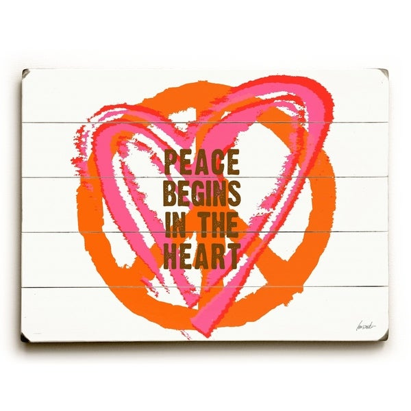 Peace begins - Planked Wood Wall Decor by Lisa Weedn