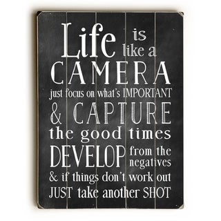 Life is Like A Camera -  Planked Wood Wall Decor by Nancy Anderson