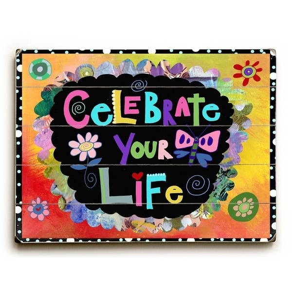 Celebrate - Planked Wood Wall Decor by Beth Nadler