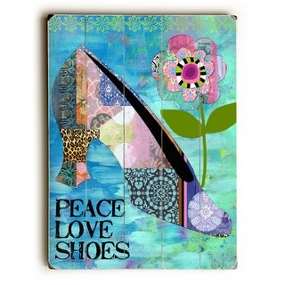 Peace love shoe -  Planked Wood Wall Decor by  Beth Nadler