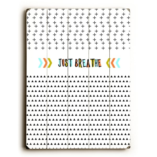 Just Breathe - Planked Wood Wall Decor by Cheryl Overton