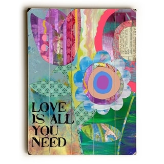 Love is all you need -  Planked Wood Wall Decor by  Beth Nadler