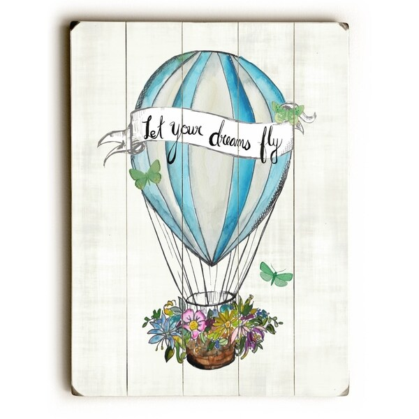Let Your Dreams Fly - Planked Wood Wall Decor by Jennifer Rizzo Design