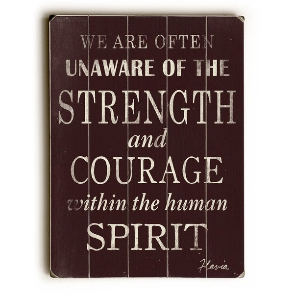 Strength & Courage - Planked Wood Wall Decor by FLAVIA