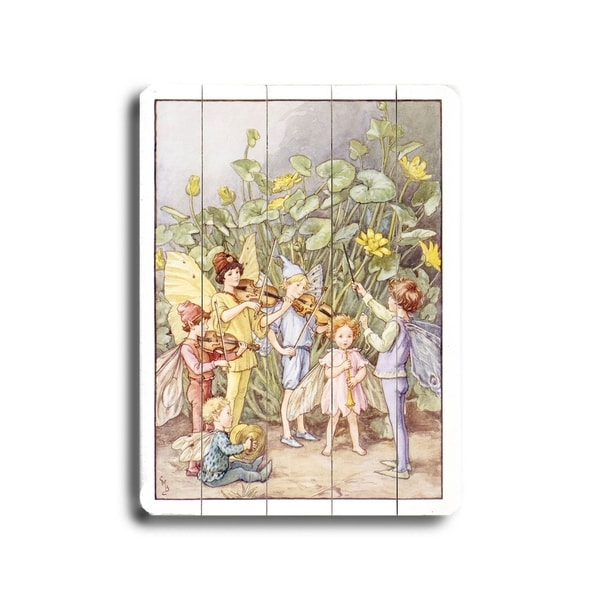 The Fairy Orchestra Music Poster - Planked Wood Wall Decor by Laughing Elephant