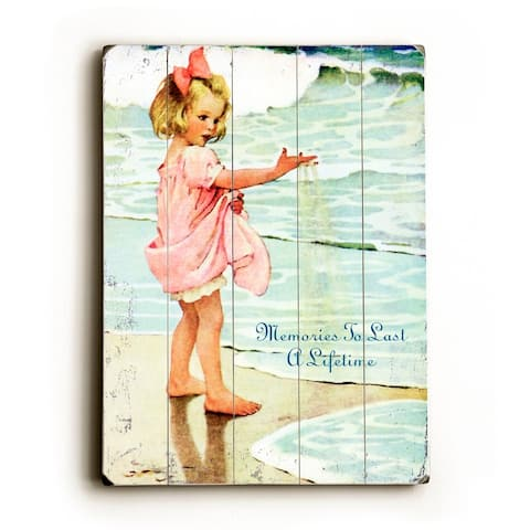 Vintage Girl on Beach - Planked Wood Wall Decor by Laughing Elephant