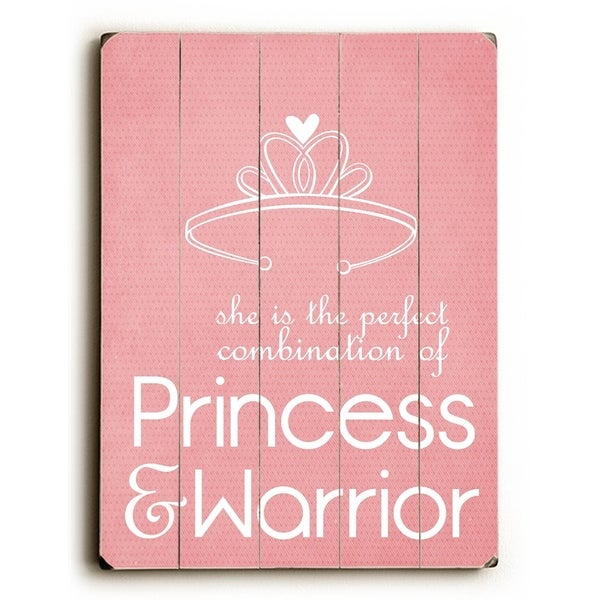Princess & Warrior - Planked Wood Wall Decor by Cheryl Overton