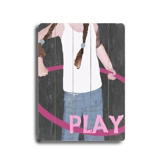 Play (Girl) -   Planked Wood Wall Decor by Lisa Weedn