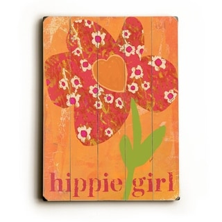 Hippie Girl -   Planked Wood Wall Decor by Lisa Weedn