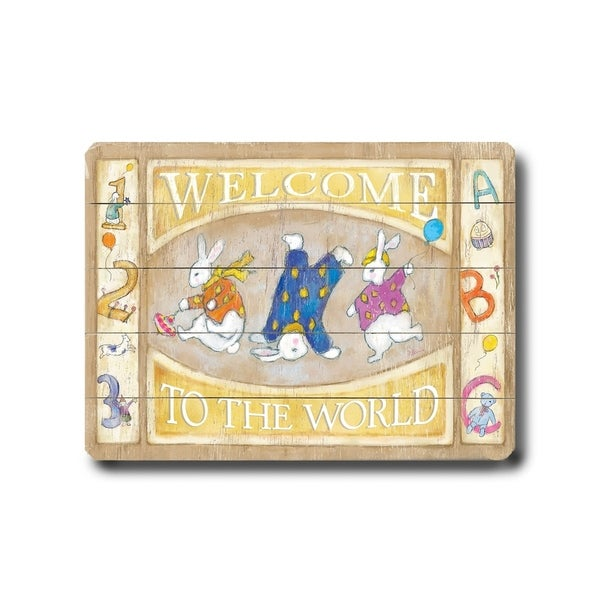 Welcome to the World - Planked Wood Wall Decor by FLAVIA