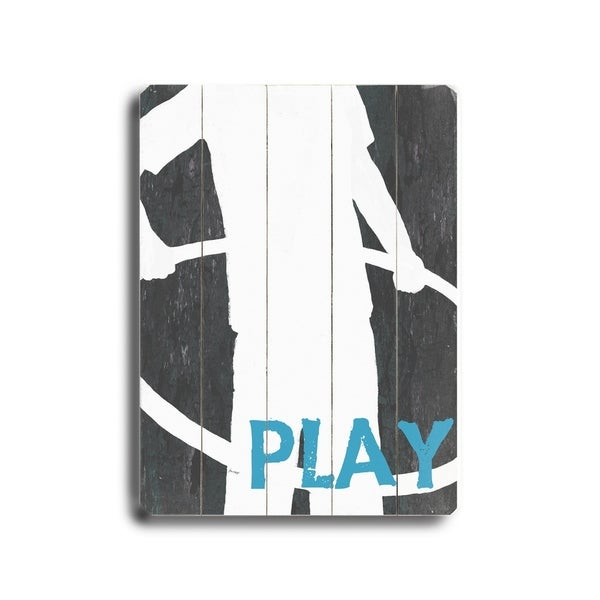Play (Boy) - Planked Wood Wall Decor by Lisa Weedn