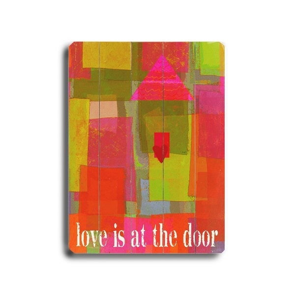 Love is at the door - Planked Wood Wall Decor by Lisa Weedn