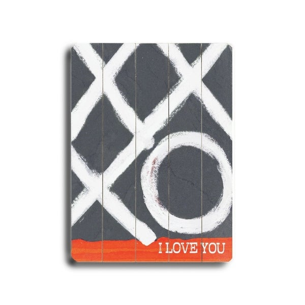 I love you (XO) - Planked Wood Wall Decor by Lisa Weedn